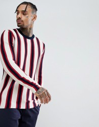 ASOS Vertical Striped Jumper In Red - Red