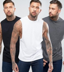 ASOS Vest With Dropped Armhole 3 Pack SAVE - Multi