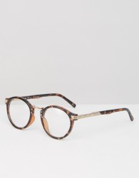 ASOS Vintage Round Clear Lens Glasses In Tort - Brown