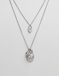 ASOS Vintage Style Heart Padlock and Mixed Pendant Multirow Necklace - Silver