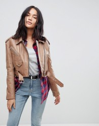 ASOS Vintage Style Leather Jacket - Beige