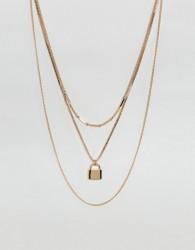 ASOS Vintage Style Padlock Multirow Necklace - Gold