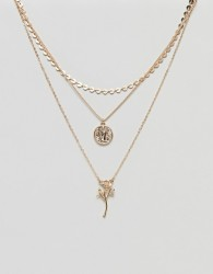 ASOS Vintage Style Rose and Coin Pendant Multirow Necklace - Gold