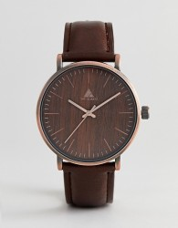 ASOS Watch With Wood Effect And Brushed Copper Finish - Brown