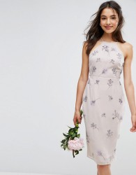 ASOS WEDDING Embellished Drape Back Midi Dress - Multi