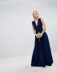 ASOS WEDDING Maxi Dress with Lace Insert - Navy