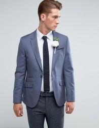 ASOS Wedding Skinny Blazer In Blue 100% Wool - Blue