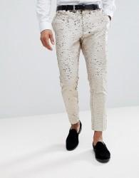 ASOS Wedding Skinny Crop Smart Trousers In Cream Reversible Sequins - Cream