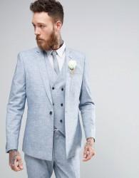ASOS WEDDING Skinny Suit Jacket in Crosshatch Nep - Blue