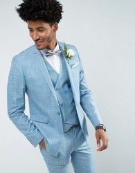 ASOS Wedding Skinny Suit Jacket in Crosshatch Nep In Light Blue With Floral Print Lining - Blue