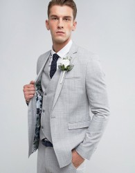 ASOS Wedding Skinny Suit Jacket in Crosshatch Nep In Light Grey With Floral Print Lining - Grey