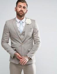 ASOS WEDDING Skinny Suit Jacket In Herringbone Stone Wool Blend - Beige