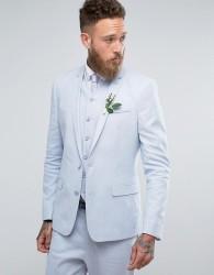 ASOS WEDDING Skinny Suit Jacket In Light Blue Stretch Linen Cotton - Blue