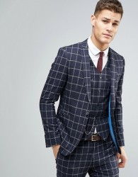 ASOS WEDDING Skinny Suit Jacket In Navy And White Windowpane Check - Navy