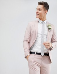 ASOS Wedding Skinny Suit Jacket In Putty Stretch Cotton - Grey