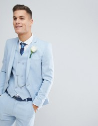 ASOS Wedding Skinny Suit Jacket in Soft Blue Cross Hatch with Printed Lining - Blue