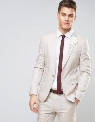 ASOS WEDDING Skinny Suit Jacket In Stretch Cotton In Putty - Grey