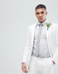 ASOS Wedding Skinny Suit Jacket In White Stretch Cotton - White