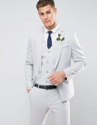 ASOS WEDDING Skinny Suit Jacket With Square Hem In Grey - Grey