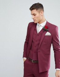 ASOS Wedding Skinny Suit Jacket With Square Hem In Wine - Red