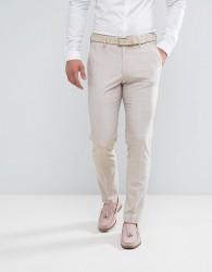 ASOS Wedding Skinny Suit Trouser in Crosshatch Nep In Putty - Grey