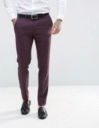 ASOS Wedding Skinny Suit Trousers In Berry Wool Mix - Purple
