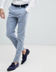 ASOS Wedding Skinny Suit Trousers In Blue Linen - Blue