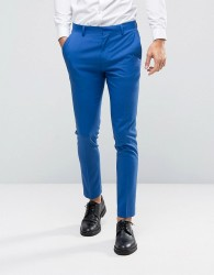 ASOS WEDDING Skinny Suit Trousers In Dusky Blue - Blue