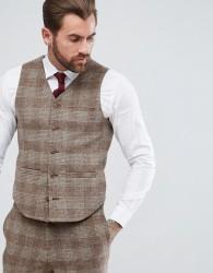 ASOS Wedding Skinny Suit Waistcoat Camel Wool Mix Tartan Check - Beige