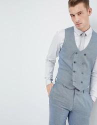 ASOS Wedding Skinny Suit Waistcoat In Airforce Blue Micro Texture - Blue