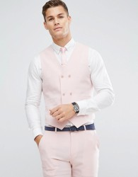 ASOS Wedding Skinny Suit Waistcoat in Pink Cross Hatch with Printed Lining - Pink