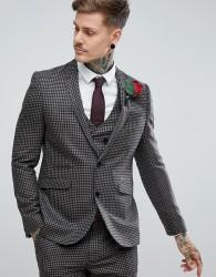 ASOS Wedding Slim Suit Jacket 100% Wool Houndstooth In Putty - Beige