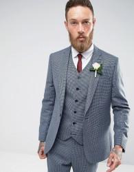 ASOS WEDDING Slim Suit Jacket In 100% Wool Blue Houndstooth - Blue