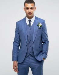 ASOS WEDDING Slim Suit Jacket in Blue Tonic - Blue