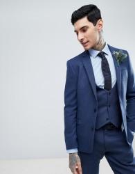 ASOS Wedding Slim Suit Jacket in Blue Wool Mix Twill - Blue