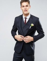 ASOS WEDDING Slim Suit Jacket in Dark Navy 100% Wool - Navy
