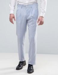 ASOS WEDDING Slim Suit Trouser In Light Blue Crosshatch Texture - Blue