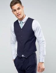 ASOS Wedding Slim Suit Waistcoat In Navy Crosshatch Texture With Floral Lining - Navy