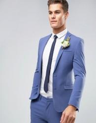 ASOS WEDDING Super Skinny Suit Jacket In Deep Blue - Blue