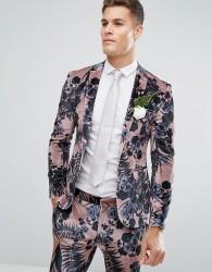 ASOS Wedding Super Skinny Suit Jacket In Dusky Pink Floral Printed Velvet - Pink