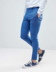 ASOS Wedding Super Skinny Suit Trouser In Bright Blue Micro Texture - Blue