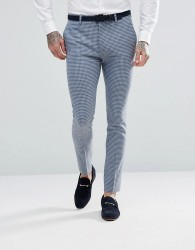 ASOS WEDDING Super Skinny Suit Trousers In Mini Check - Blue