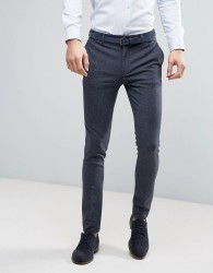 ASOS WEDDING Super Skinny Suit Trousers in Mini Check In Blue - Blue