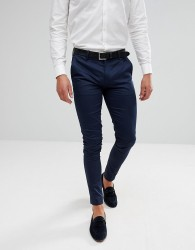 ASOS Wedding Super Skinny Trousers In Navy Cotton Sateen - Navy