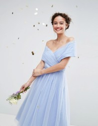 ASOS WEDDING Tulle Midi Dress - Blue