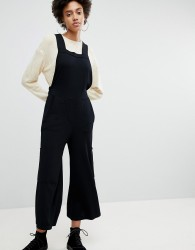 ASOS WHITE Knitted Apron Jumpsuit - Black