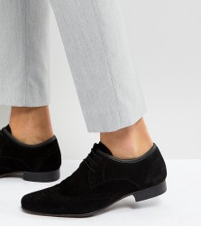 ASOS Wide Fit Brogue Shoes in Black Suede - Black