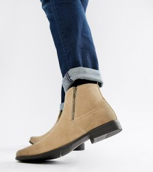 ASOS Wide Fit chelsea boots in stone faux suede with zips - Stone