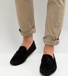 ASOS Wide Fit Driving Shoes In Black Suede With Tie Front - Black