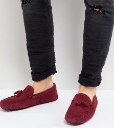 ASOS Wide Fit Driving Shoes In Burgundy Suede With Tassel - Red